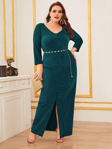 DRESS Plus Ruched Split Hem Glitter Dress Without Belt - EK CHIC