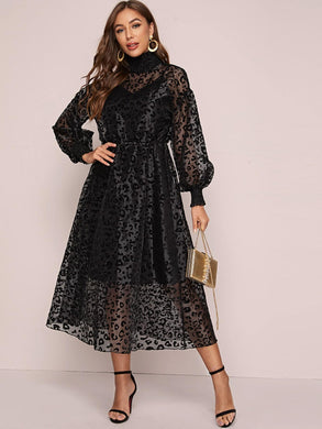 DRESS Shirred Neck Lantern Sleeve Leopard Flocked Organza Overlay Dress - EK CHIC