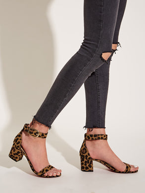 SHOES Leopard Print Ankle Strap Chunky Heels - EK CHIC