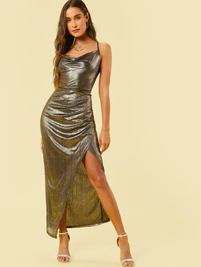 DRESS Draped Neck Split Thigh Metallic Slip Dress - EK CHIC