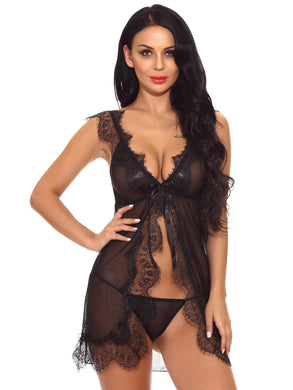 LINGERIE Lace Trim Sheer Mesh Dress With Thong - EK CHIC