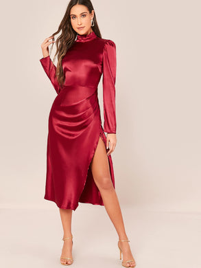 DRESS Wrap Hem Satin Dress - EK CHIC