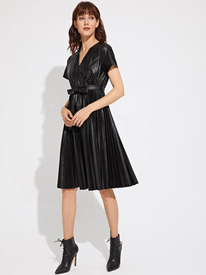 DRESS Premium Surplice Neck Self Belted Pleated PU Leather Dress - EK CHIC