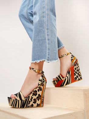 SHOES Stripe Leopard Open Toe Platform Wedges - EK CHIC