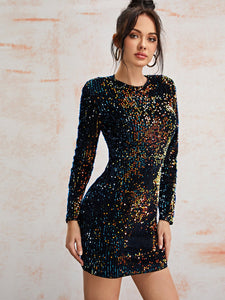 Sequin Fitted Dress - EK CHIC