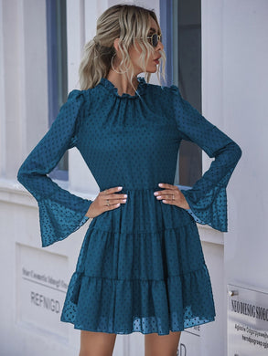 Swiss Dot Frill Trim Ruffle Hem Flounce Sleeve Dress - EK CHIC