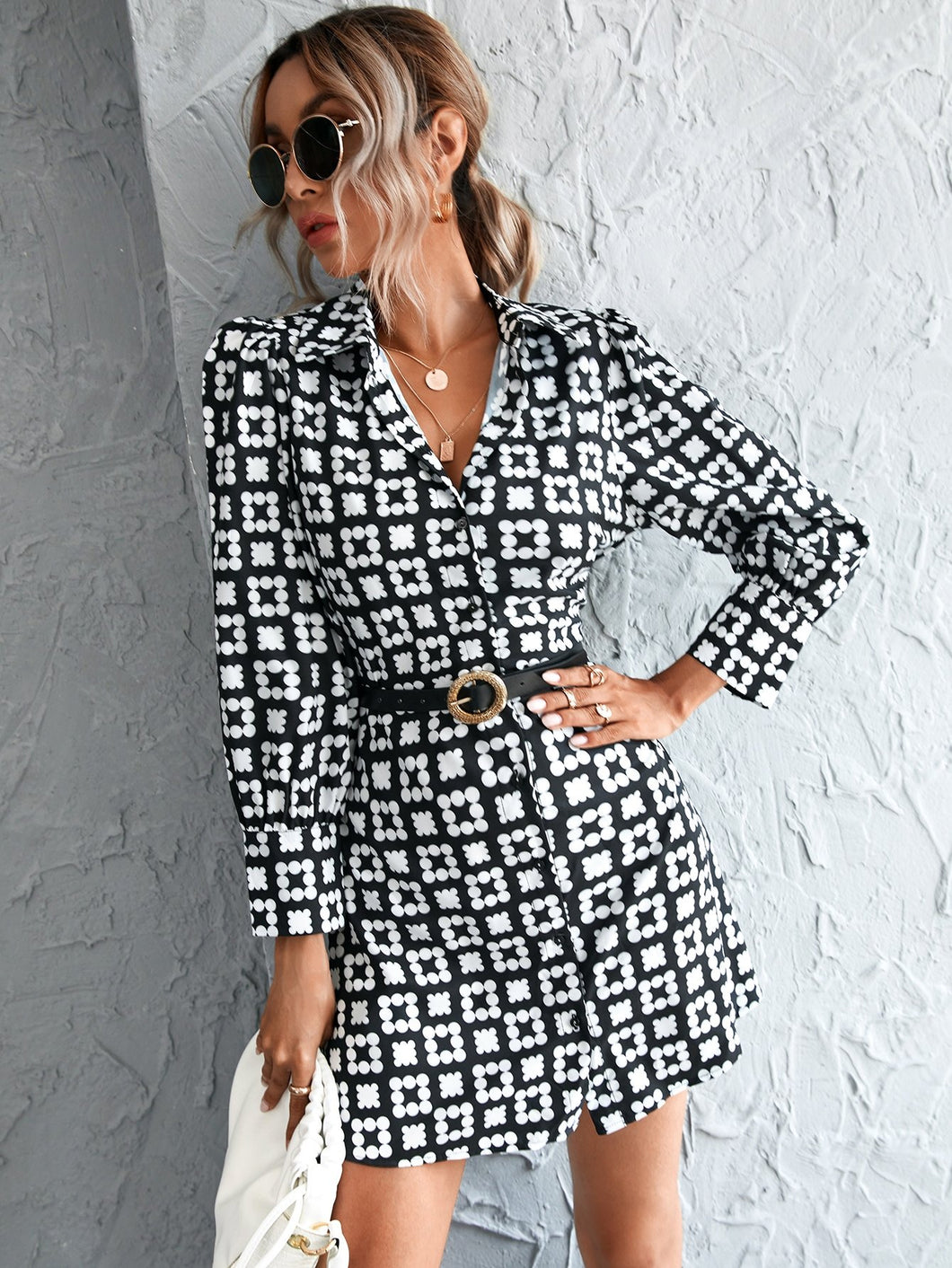 Geo Print Button Front Puff Sleeve Dress Without Belt - EK CHIC
