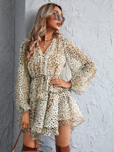 Load image into Gallery viewer, Leopard Print Drawstring Waist Layered Hem Dress - EK CHIC