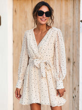 Load image into Gallery viewer, Polka Dot Surplice Front Belted Dress - EK CHIC