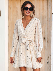 Polka Dot Surplice Front Belted Dress - EK CHIC