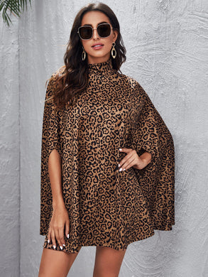 High Neck Leopard Print Cloak Sleeve Dress - EK CHIC