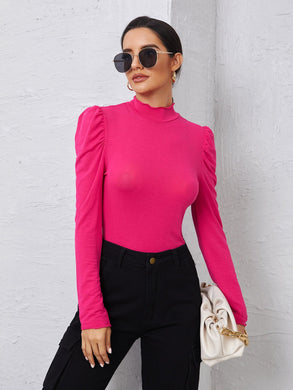 Mock Neck Puff Sleeve Tee - EK CHIC
