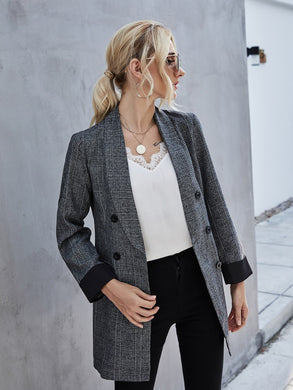 Shawl Collar Double Breasted Blazer - EK CHIC