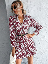 Load image into Gallery viewer, Geo Print Button Front Puff Sleeve Dress Without Belt - EK CHIC