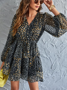 Leopard Print Drawstring Waist Layered Hem Dress - EK CHIC