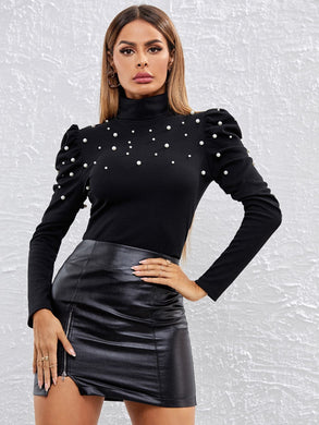 High Neck Pearls Beaded Gigot Sleeve Tee - EK CHIC