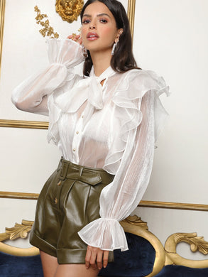 Tie Neck Ruffle Trim Sheer Silky Blouse - EK CHIC