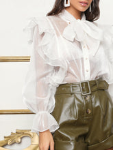 Load image into Gallery viewer, Tie Neck Ruffle Trim Sheer Silky Blouse - EK CHIC