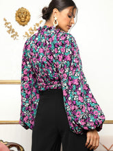 Load image into Gallery viewer, Lantern Sleeve Cut Out Front Ruched Floral Top - EK CHIC