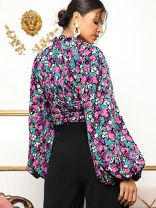 Lantern Sleeve Cut Out Front Ruched Floral Top - EK CHIC