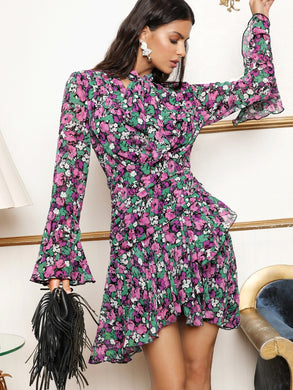 Tie Neck Flounce Sleeve Ruffle Trim Ruched Floral Dress - EK CHIC