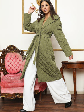 Notched Collar Self Belted Quilted Coat - EK CHIC