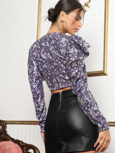 Leg-of-mutton Sleeve Zip Back Sequin Top - EK CHIC