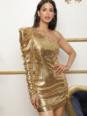 One Shoulder Gigot Sleeve Sequin Dress - EK CHIC