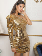 Load image into Gallery viewer, One Shoulder Gigot Sleeve Sequin Dress - EK CHIC