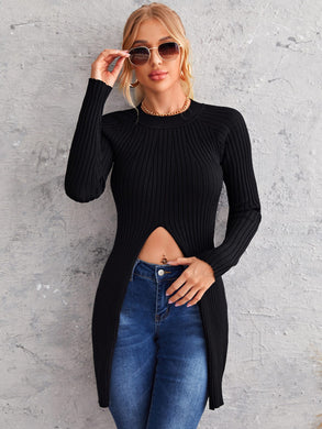 Split Front Longline Sweater - EK CHIC