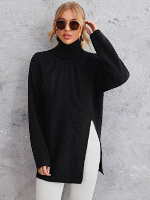 Solid High Neck Split Hem Sweater - EK CHIC