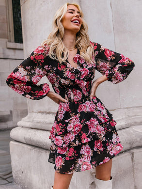 Floral Print Shirred Waist Layered Hem Dress - EK CHIC