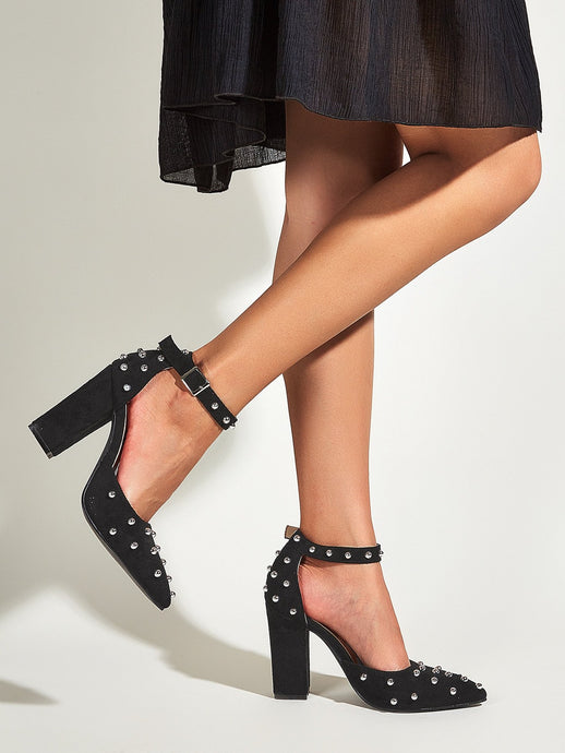 Studded Decor Ankle Strap Chunky Pumps - EK CHIC