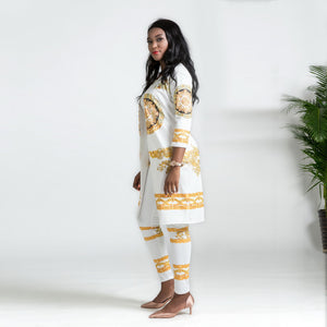 SET White/Gold Print Elastic 2 Piece Set - EK CHIC
