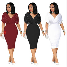 Load image into Gallery viewer, DRESS Spread Chest Deep V Neck Midi Dress - EK CHIC