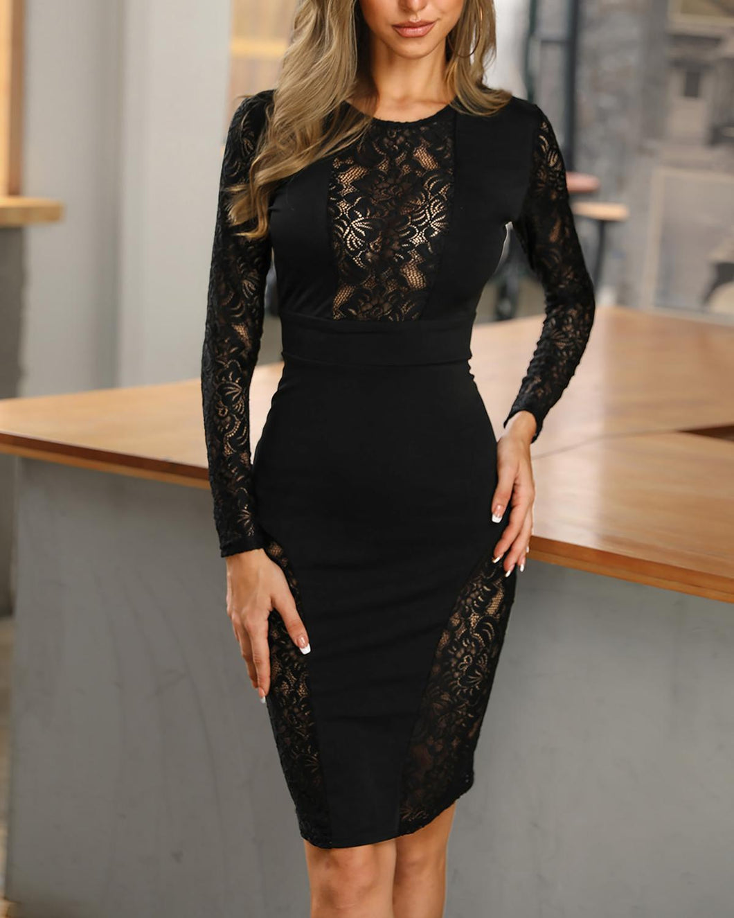 DRESS Elegant Fashion Women Black Lace Insert Midi Dress - EK CHIC