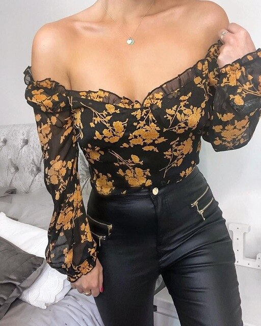 TOPS Casual Elegant Ruffle Off The Shoulder Floral Top - EK CHIC