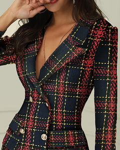 DRESS Striped Grid Double Breasted Blazer Dress - EK CHIC
