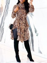 Load image into Gallery viewer, TOPS Boho Vinatge Leopard Print Irregular Hem Casual Blouse - EK CHIC