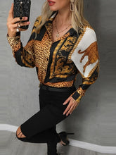 Load image into Gallery viewer, TOPS Stylish Leopard Print Button Design Casual Blouse - EK CHIC