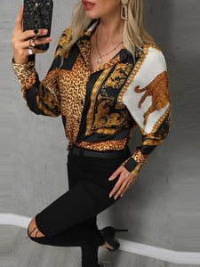 TOPS Stylish Leopard Print Button Design Casual Blouse - EK CHIC