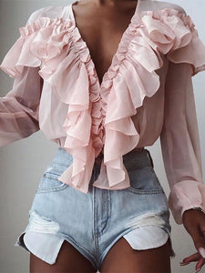 TOPS Stylish Flounce Solid Color V-Neck Ruffle Trim Blouse - EK CHIC