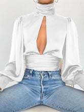 Load image into Gallery viewer, TOPS Sexy Blouse Keyhole Backless Long Lantern Sleeve Top - EK CHIC