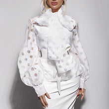Load image into Gallery viewer, TOPS Dot Hollow Out Lantern Sleeve Knotted Blouse - EK CHIC
