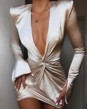 Load image into Gallery viewer, DRESS Sexy V Neck Plunge Twisted Design Slit Cuff Dress - EK CHIC