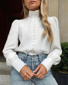 TOPS Solid Long Sleeve Single Breasted Blouse - EK CHIC