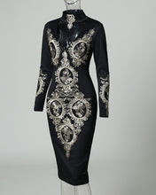 Load image into Gallery viewer, DRESS Long Sleeve Lace Applique Bodycon Dress - EK CHIC