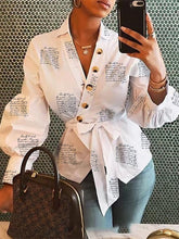 Load image into Gallery viewer, TOPS Leisure Top Buttoned Surplice Wrap Lantern Cuff Shirt - EK CHIC