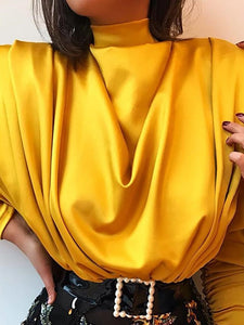 TOPS High Neck Batwing Sleeve Drape Front Blouse - EK CHIC