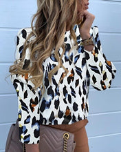 Load image into Gallery viewer, TOPS Abstract Leopard Print Long Sleeve Popper Cuff Blouse - EK CHIC